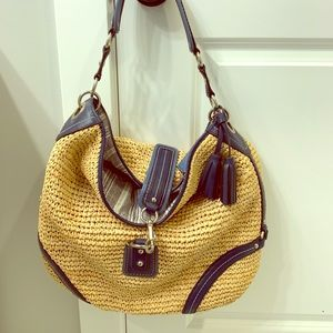 Coach wicker weave hobo handbag